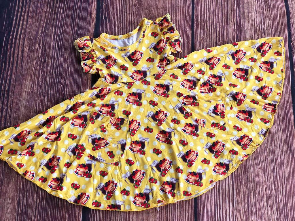 PANCAKE SYRUP TWIRLY DRESS WITH POCKETS