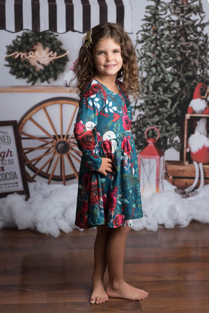 CHRISTMAS FLORAL TWIRLY DRESS