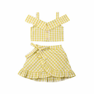YELLOW GINGHAM SKIRT SET