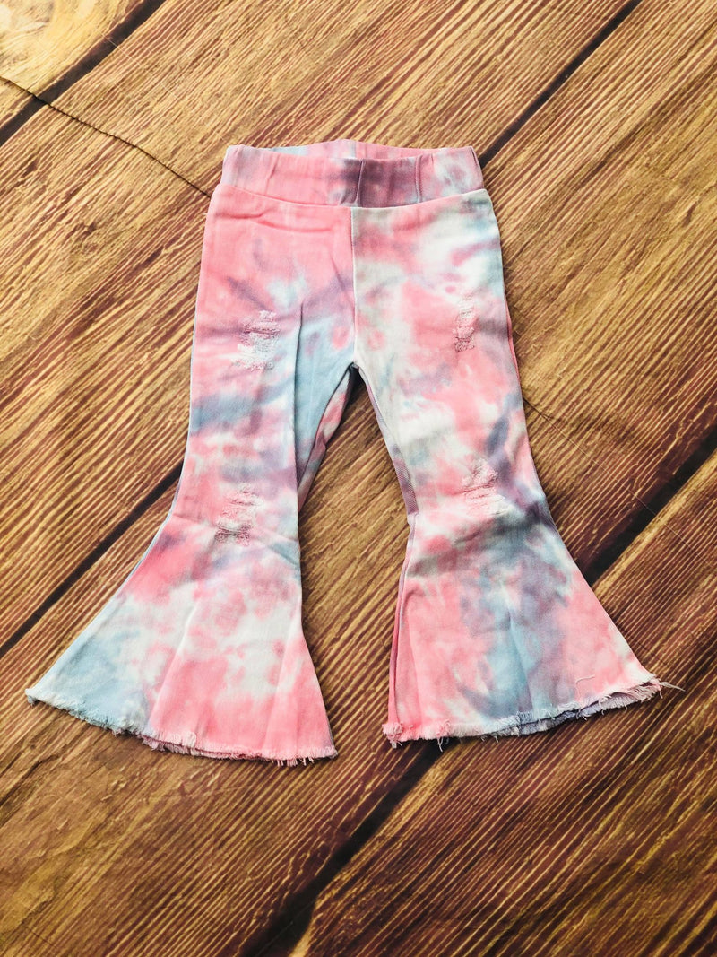 FLARE DISTRESSED JEANS - TYE DYE