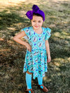 BUNNY TEAL AND PURPLE FLORAL TWIRL DRESS