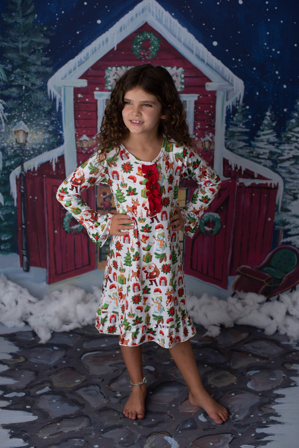 CHRISTMAS SANTA AND REINDEER NIGHTGOWN