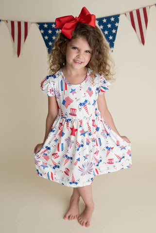 PATRIOTIC UNICORN MILK SILK DRESS
