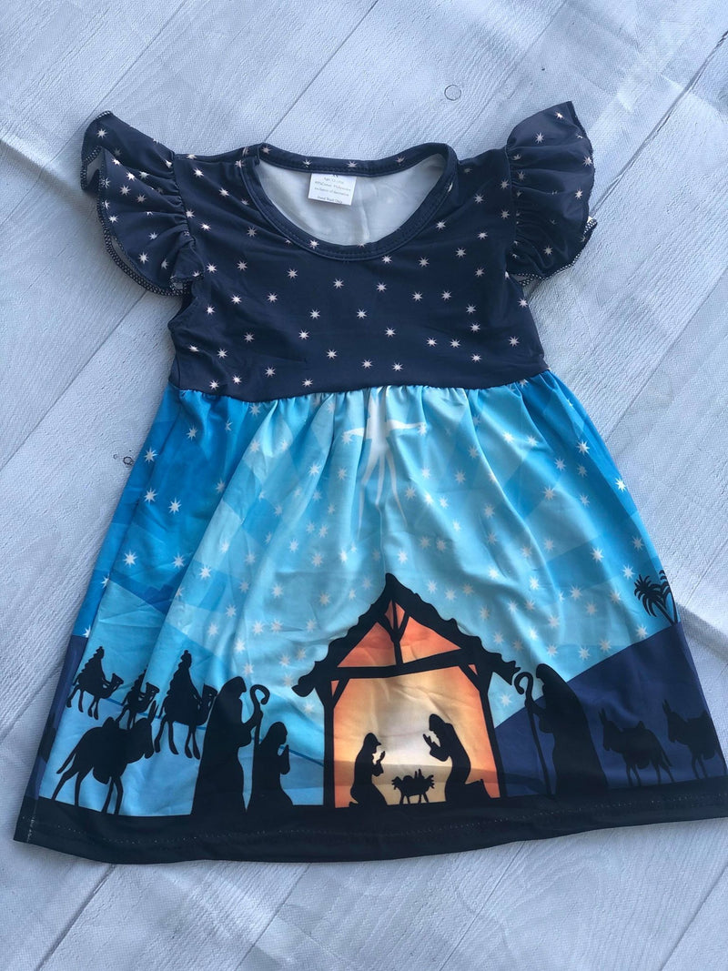 NATIVITY SCENE MILK SILK DRESS