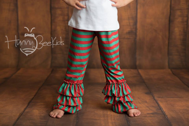 RUFFLE PANTS - RED/GREEN