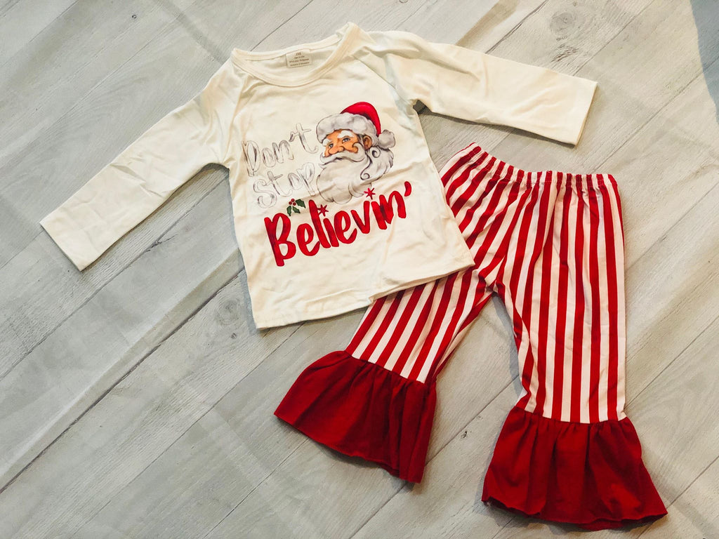 SANTA TOP WITH RUFFLE PANTS