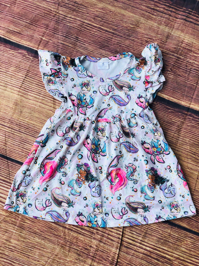 NARWHAL & MERMAID MILK SILK DRESS