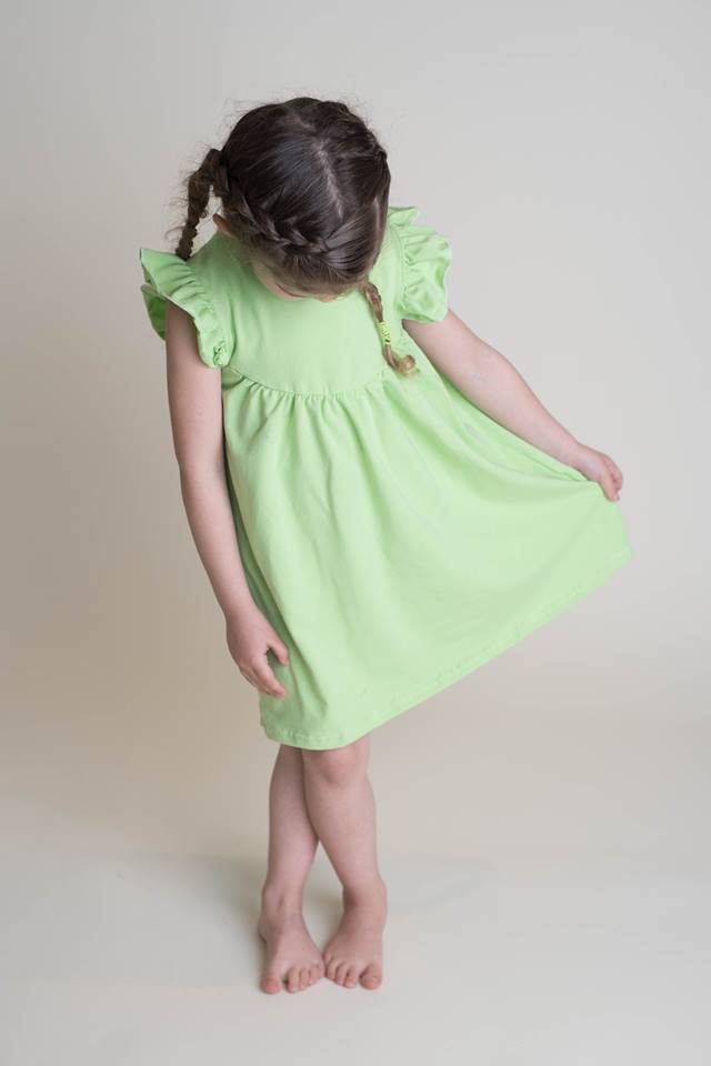 SOLID PEARL DRESS - LIME