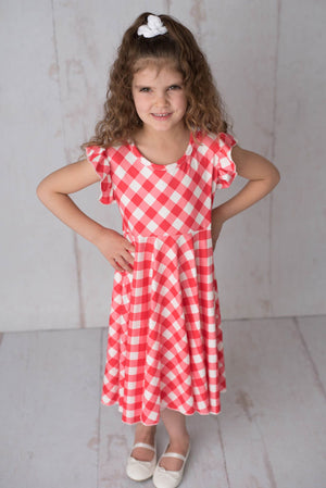 GINGHAM TWIRLY DRESS  - RED