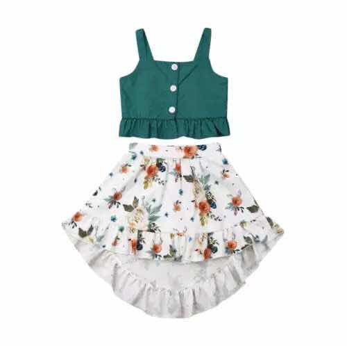 GREEN TOP WITH FLORAL SKIRT SET