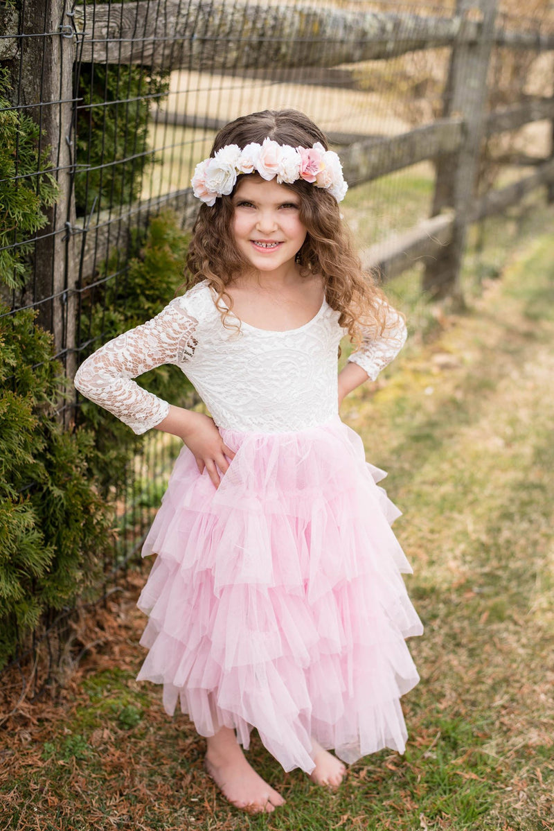 AURORA TULLE DRESS - PINK/WHITE