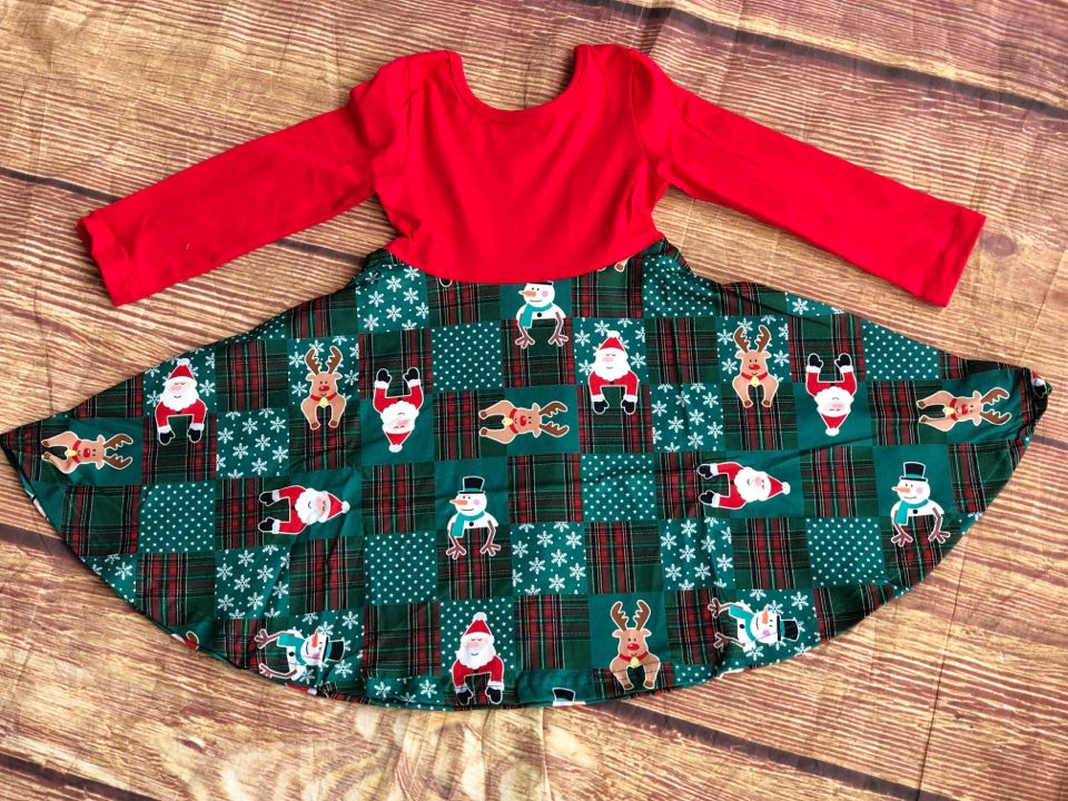 SANTA & FRIENDS PLAID TWIRL DRESS - REDTOP