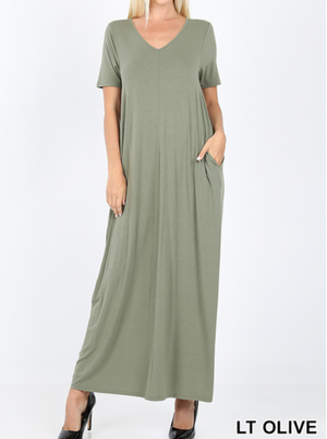 V-NECK SHORT SLEEVE MAXI DRESS WITH SIDE POCKETS - LIGHT OLIVE