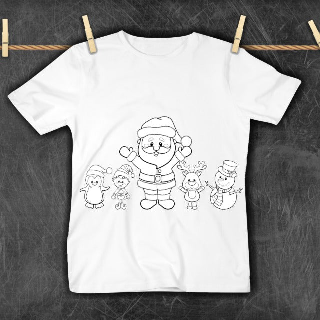 COLOR YOUR OWN TSHIRT - SANTA & FRIENDS - PREORDER