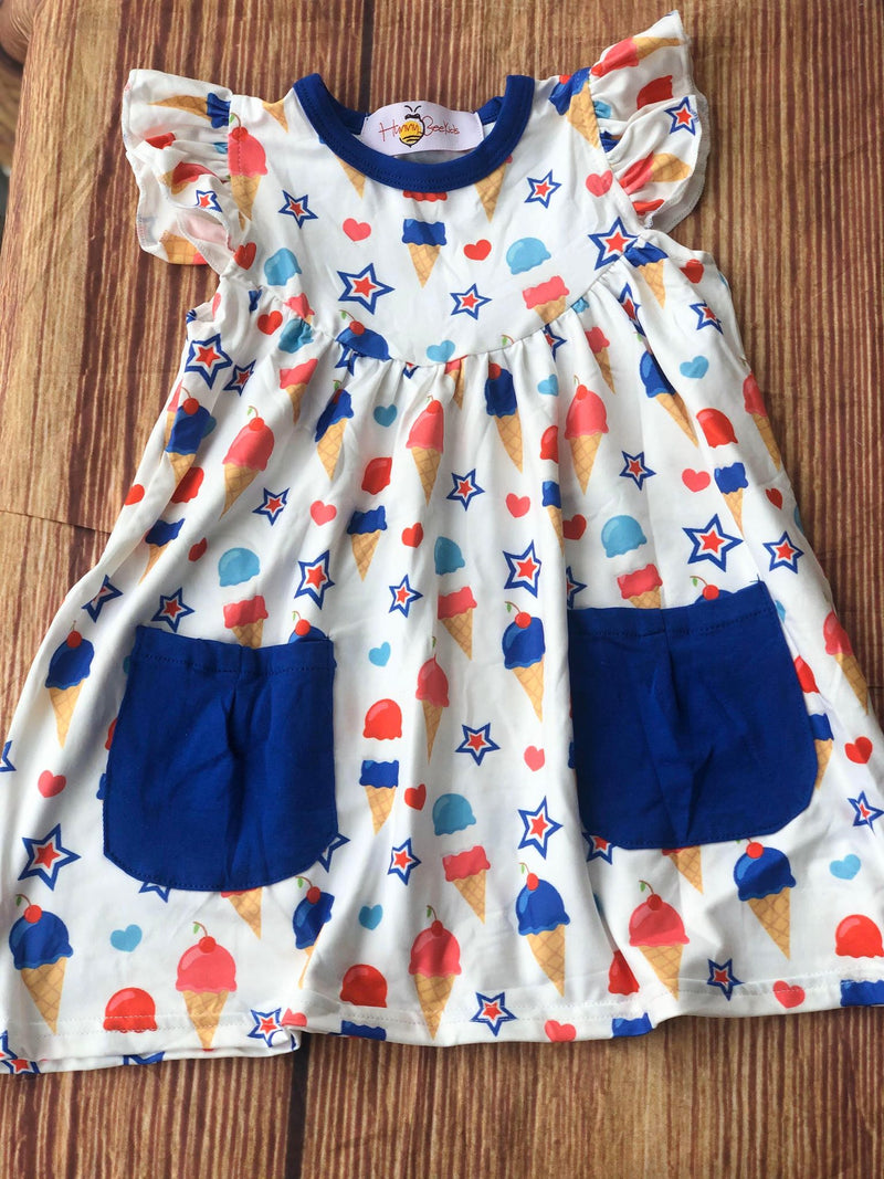 BLUE WHITE AND RED ICE CREAM DRESS WITH POCKETS