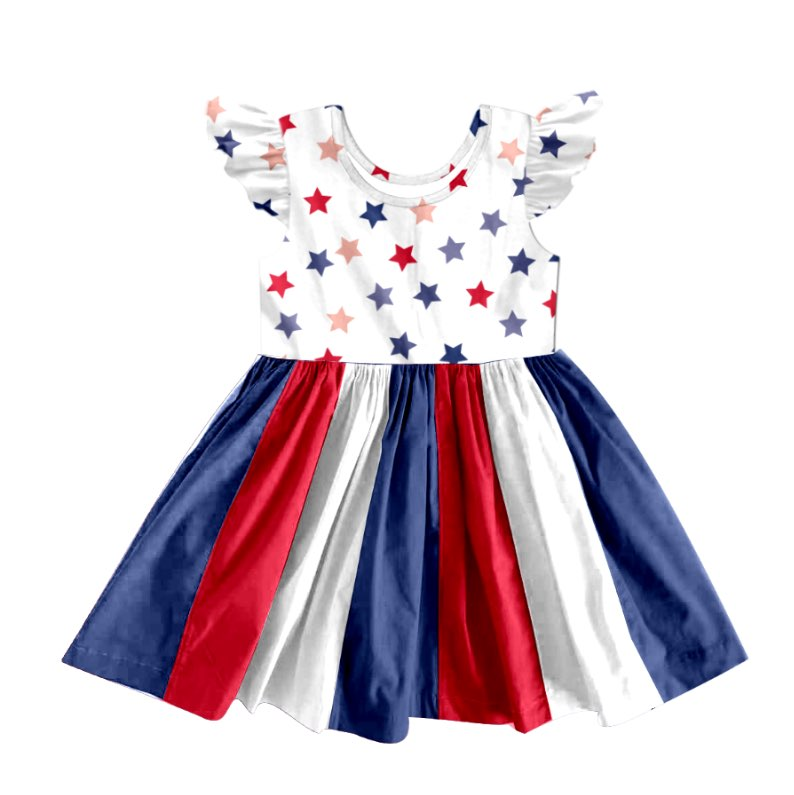 PATRIOTIC STAR TWIRLY DRESS  - PREORDER - WHITE