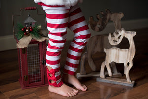 BOW LEGGINGS - CANDY CANE