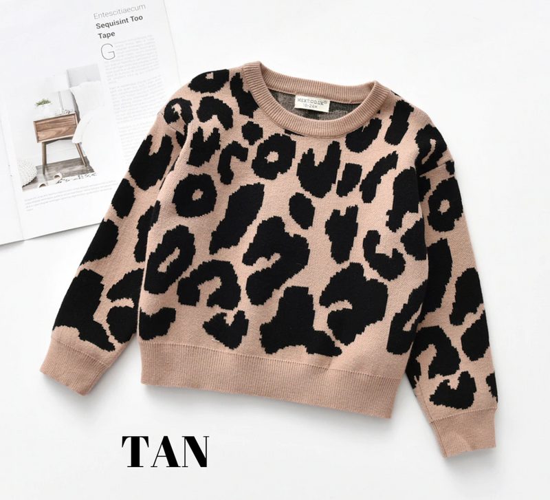 ANIMAL PRINT SWEATER - TAN