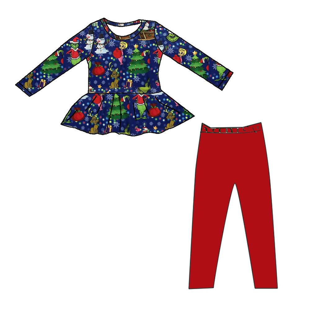 GRINCH INSPIRED PEPLUM SET LONG SLEEVES PREORDER