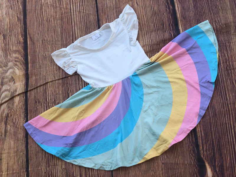 SAMANTHA RAINBOW TWIRLY DRESS - PREORDER