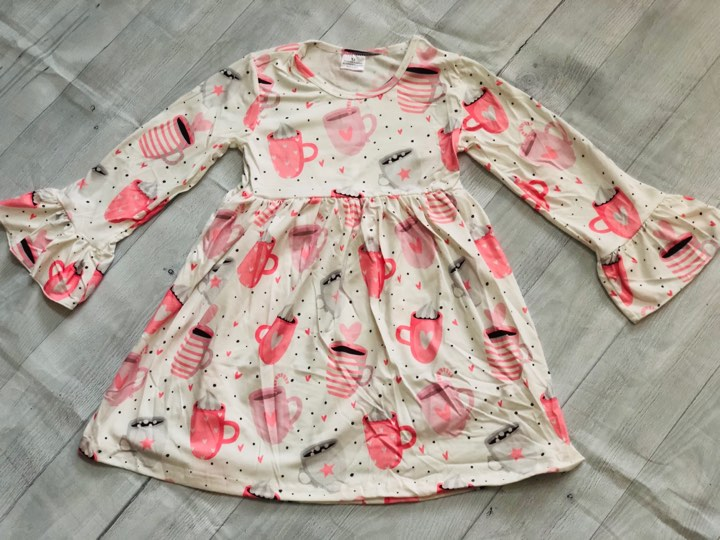 VALENTINE HEART CUPS MILK SILK DRESS