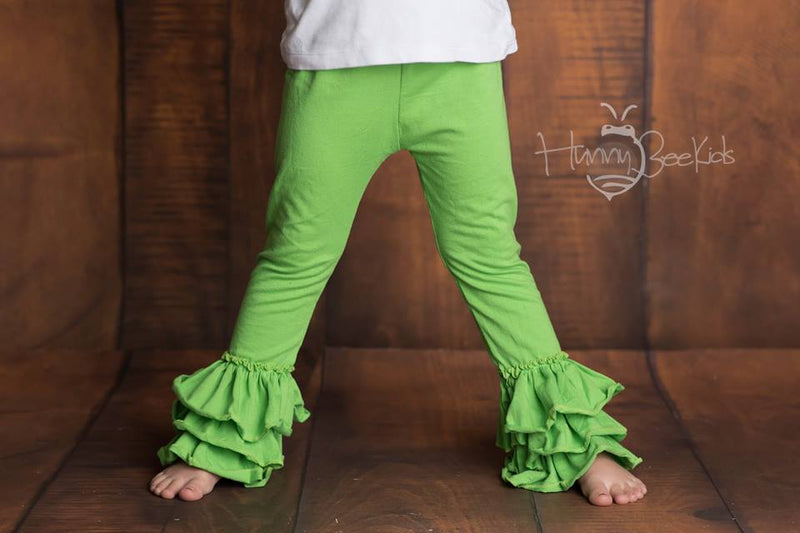 RUFFLE PANTS  - KELLY GREEN