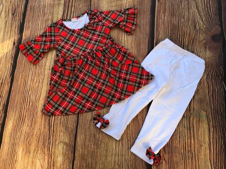 PLAID TOP AND BOW PANTS SET