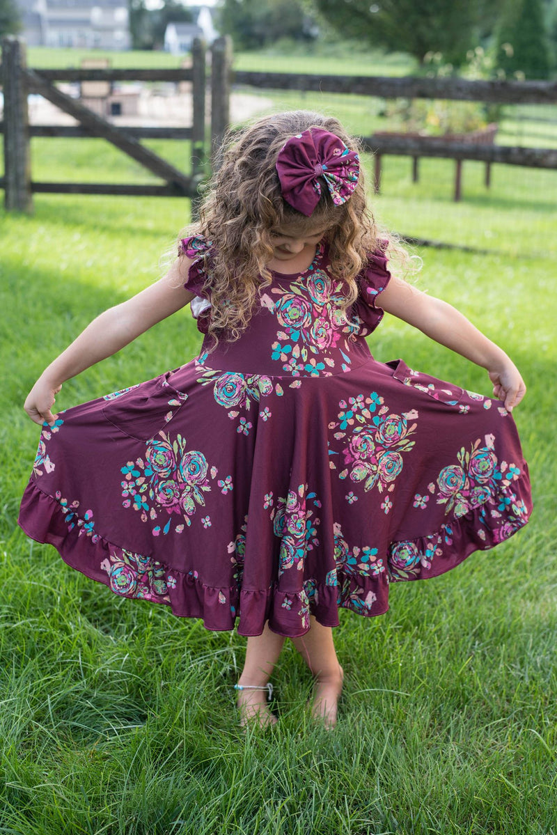 MARIBELLE BURGUNDY FLORAL DRESS