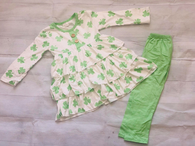 SHAMROCK RUFFLE DRESS WITH LEGGINGS