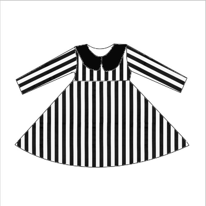 LADIES BLACK AND WHITE STRIPE LONG SLEEVES SLEEVES TWIRL DRESS - PREORDER