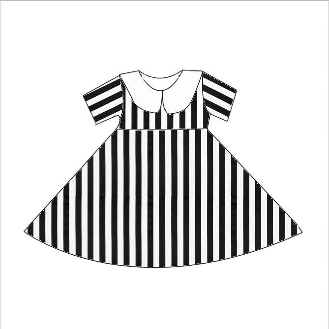 LADIES BLACK AND WHITE STRIPE SHORT SLEEVES TWIRL DRESS - PREORDER