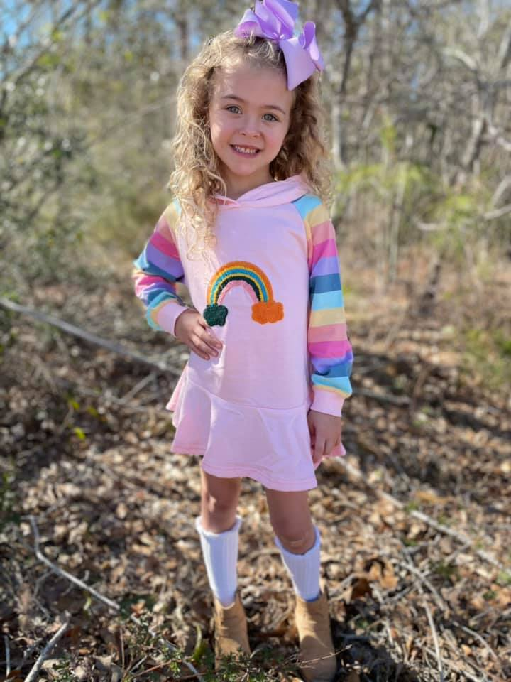 RAINBOW HOODIE DRESS  - 4 COLORS