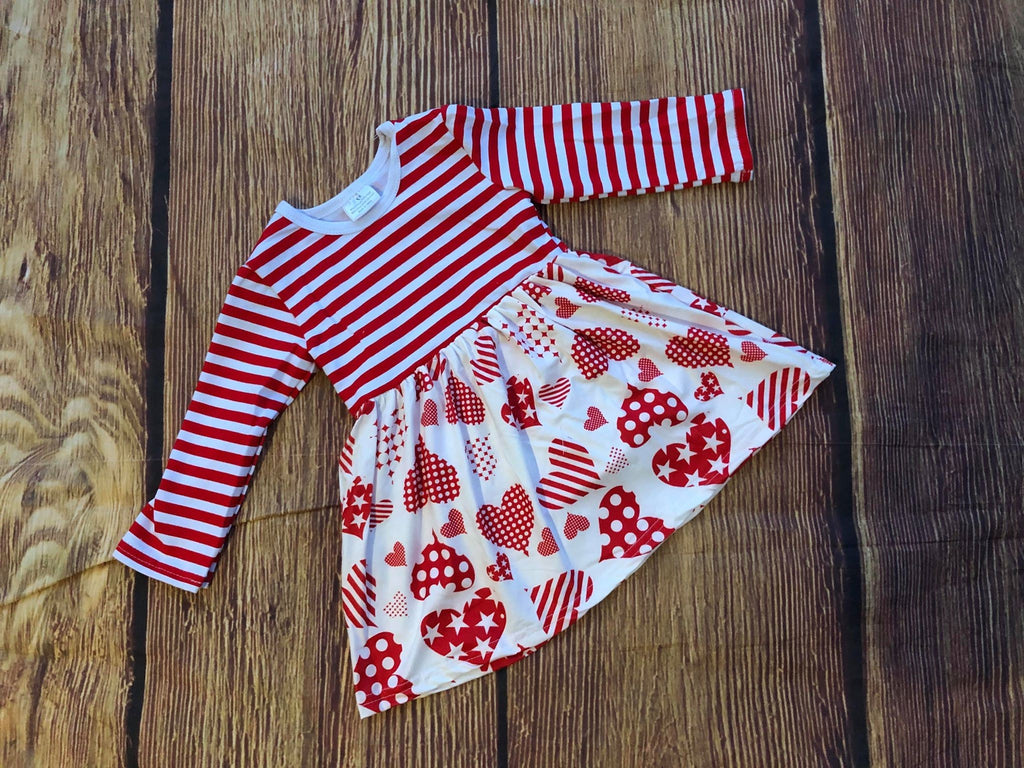 VALENTINE HEARTS AND STRIPE DRESS