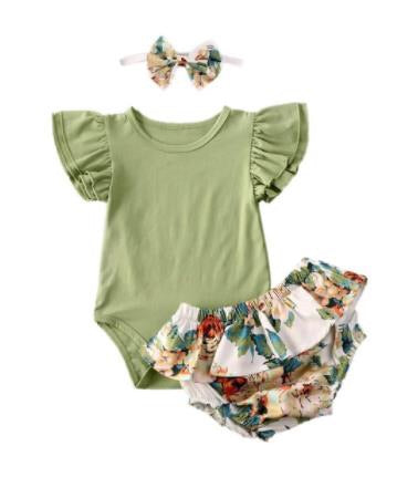 VINTAGE FLORAL  BLOOMER SET  - GREEN