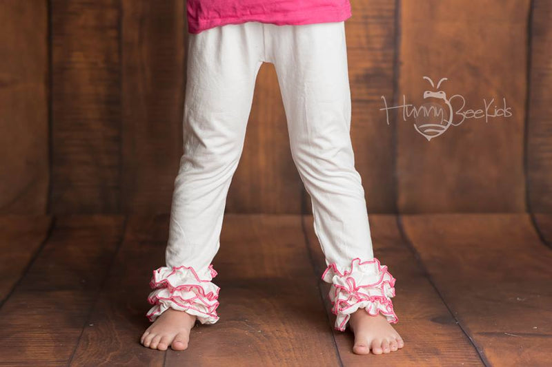 IVORY  WITH PINK TRIM ICING LEGGINGS