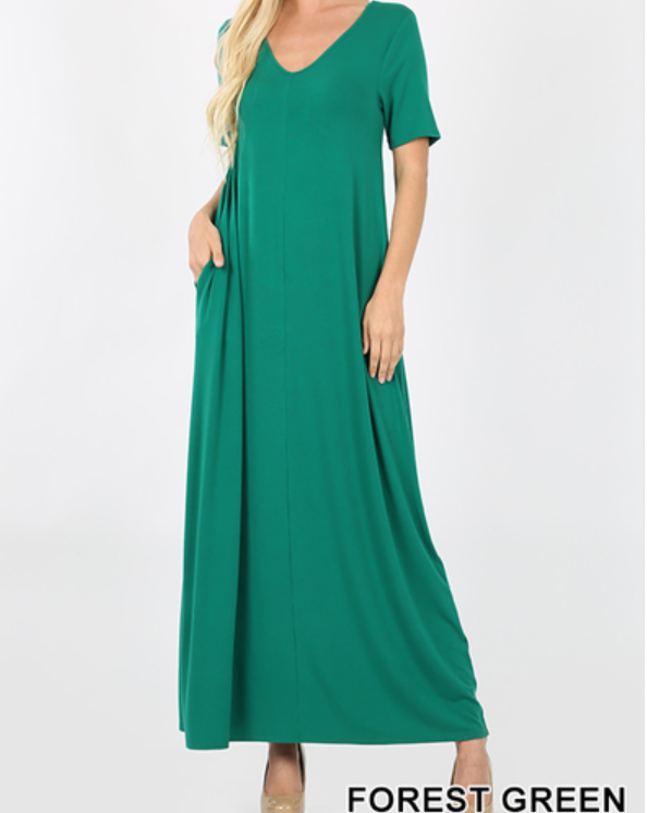 V-NECK SHORT SLEEVE MAXI DRESS WITH SIDE POCKETS - FOREST GREEN