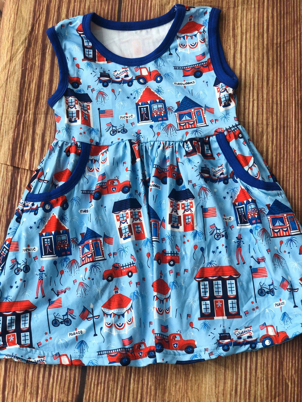 PATRIOTIC CARNIVAL TANK DRESS WITH POCKETS