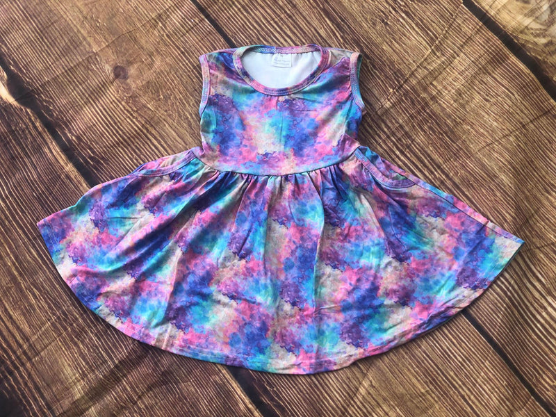 GALAXY TYE DYE TWIRL DRESS WITH POCKETS