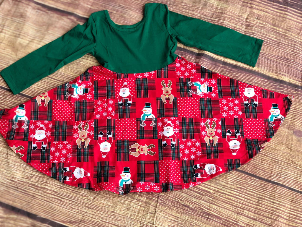 SANTA & FRIENDS PLAID TWIRL DRESS - GREENTOP