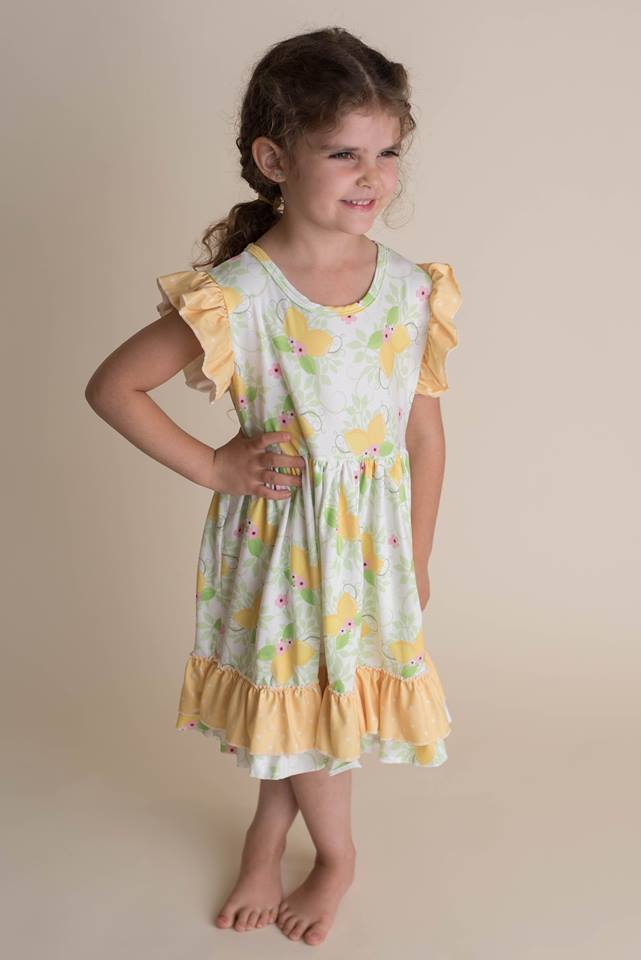 LEMON FLUTTER DRESS