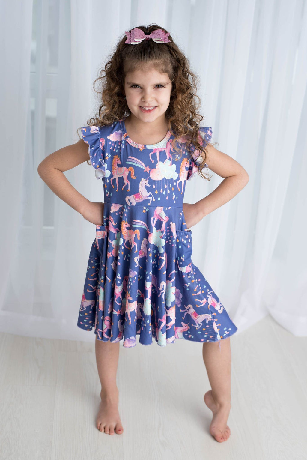 94f9d1259d UNICORN GLITTER DRESS WITH POCKETS - PREORDER