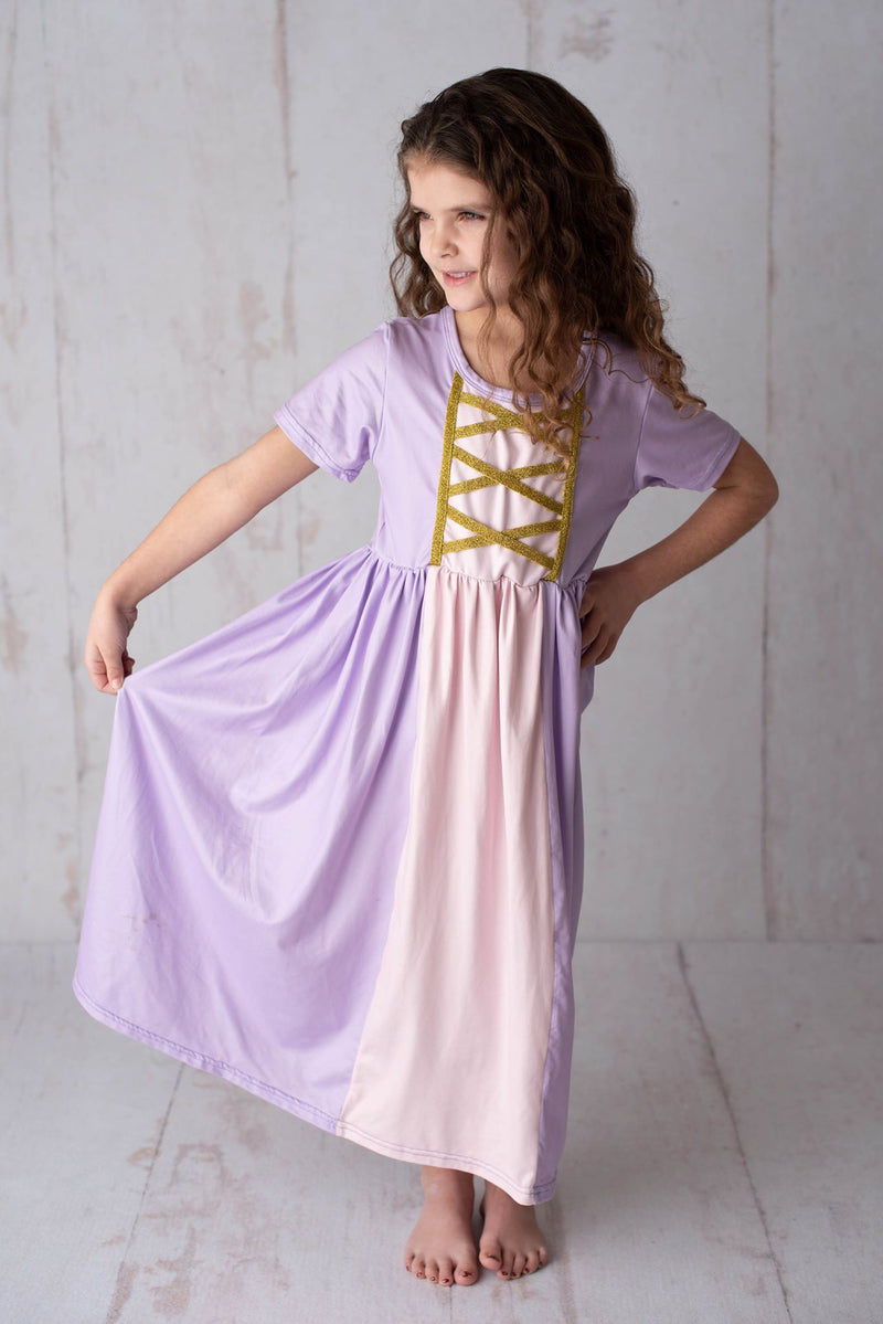 PRINCESS INSPIRED MAXI DRESS - PURPLE/PINK