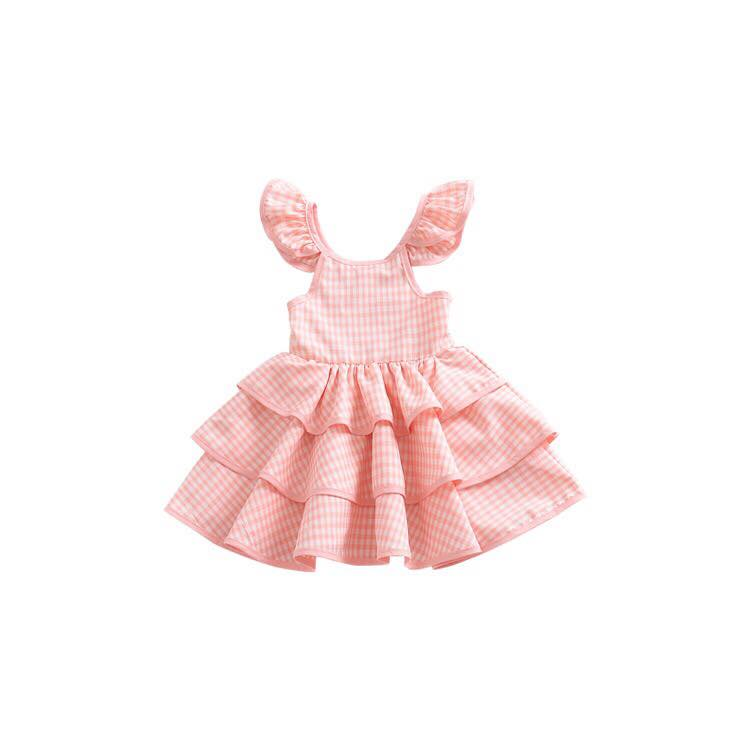 PEACH GINGHAM RUFFLED DRESS M1
