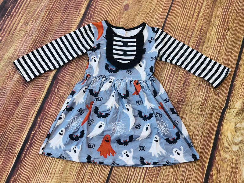 BOO GHOST STRIPE DRESS
