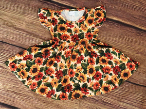 SUNFLOWER TWIRL DRESS WITH POCKETS