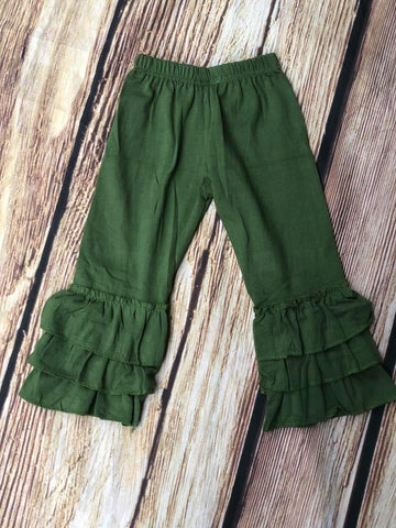 RUFFLE PANTS - OLIVE GREEN