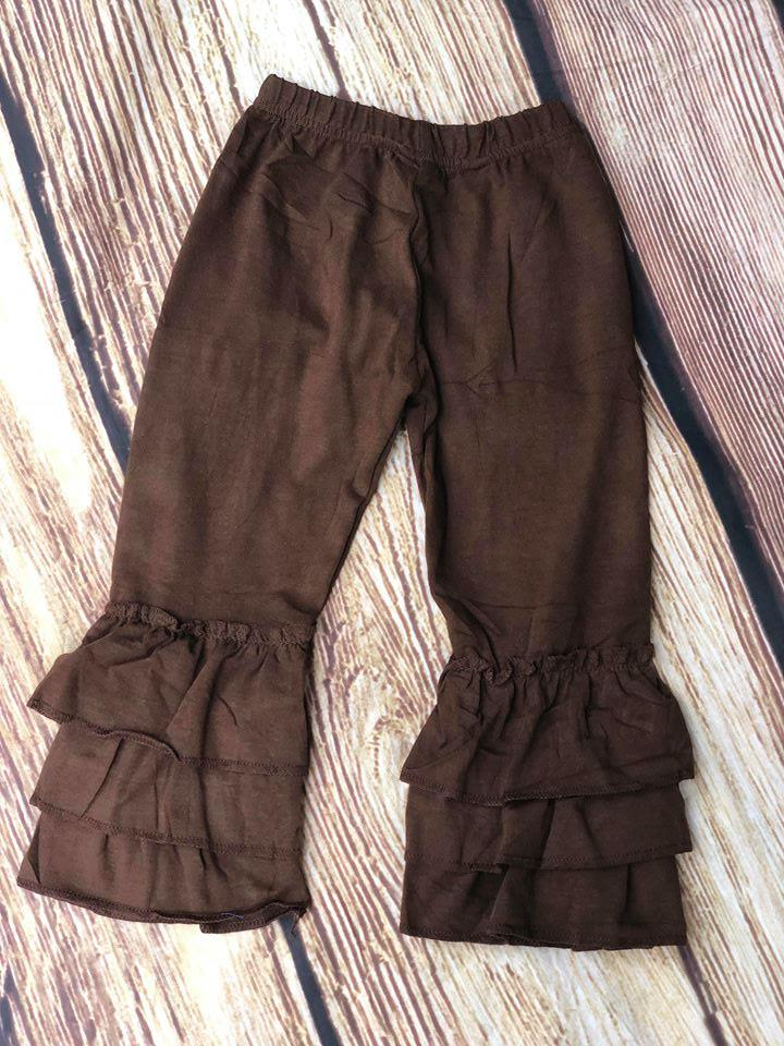 RUFFLE PANTS - COFFEE