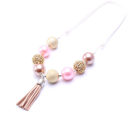 PINK AND GOLD TASSEL NECKLACE - ADJUSTABLE