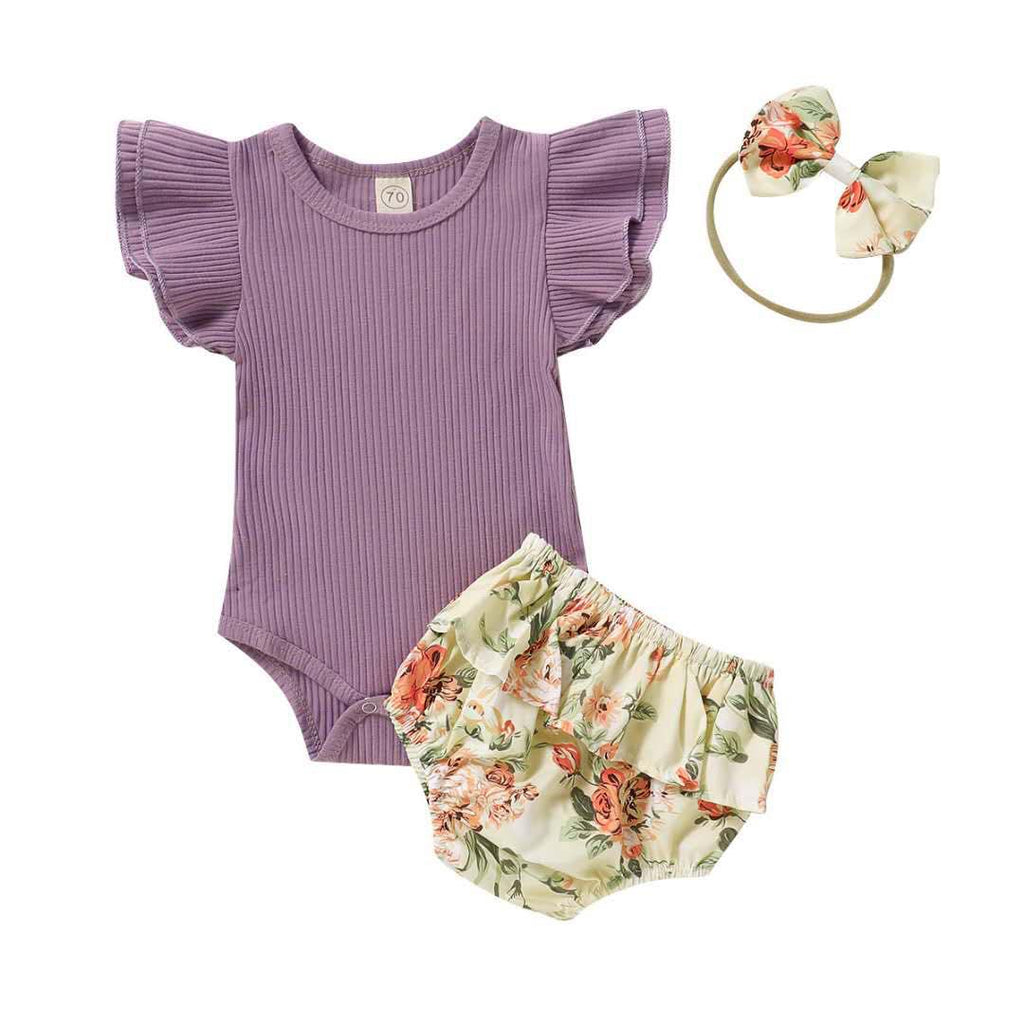 VINTAGE FLORAL  BLOOMER SET  - PURPLE