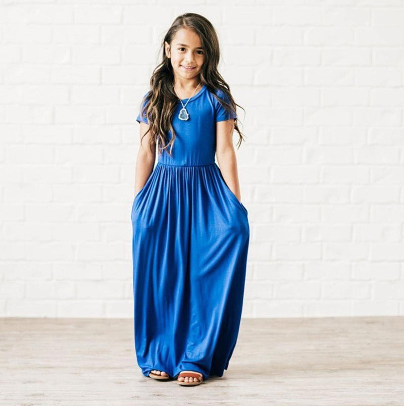 ROYAL BLUE MAXI DRESS WITH POCKETS